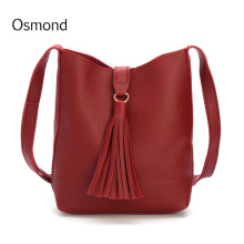 Osmond Tassel Bucket Shoulder handbag Drawstring Litchi Leather Crossbody Messenger Bag Red Women Purse Clutch Mini Solid New PU