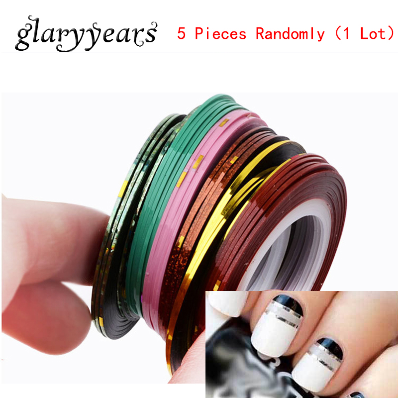 5 Pieces/lot Rolls Striping Tape Line Nail Art Decoration Sticker DIY Multicolor Nail Foil Line Manicures Sticker Tool 38 Colors(China (Mainland))