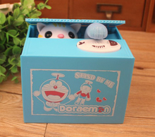 NEW hot Doraemon limited edition cat style Steal Coin Piggy Bank box Automated action figure toys Christmas gift