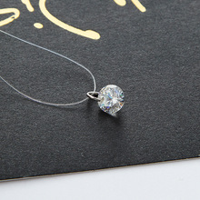Women 2017 New Silver Plated Jewelry Bijoux Elegant Gift Fine Transparent Invisible Line Super Shinning Zircon Choker Necklace