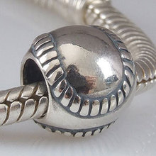 New DIY Sport Baseball Charms Original 100% Authentic 925 Sterling Silver Beads fit for Pandora bracelets & Necklaces
