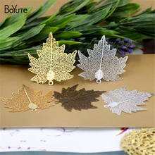 BoYuTe 10Pcs 65*58MM Brass Filigree Maple Leaf Pendant 3 Colors Etched Sheet Diy Pendant Charms for Necklace Jewelry Making