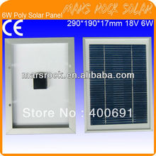 6W 18V Small Power Poly Silicon Solar Panel Module with Aluminum Alloy Frame, High Transparent Tempered Glass, Nice Appearance