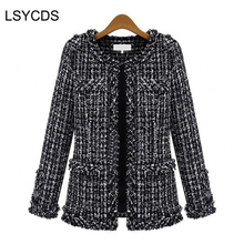 2018 Women Basic Coats Fashion Elegant Vintage Tweed Winter Casual Formal Woolen Overcoat Coat Winter Jacket Women(China)