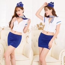 Sexy Lingerie cosplay Air Hostess Airline Stewardess uniform set sexy costume babydoll erotic lingerie sexy underwear lenceria(China)