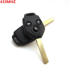 Free shipping for 3button remote key for Subaru Forester 433Mhz with 4D62 chip No Battery    S005