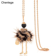 chenlege fashion boho women rabbit fur maxi chokers long chain big necklaces statement doll pendants collar female 2017 handmade