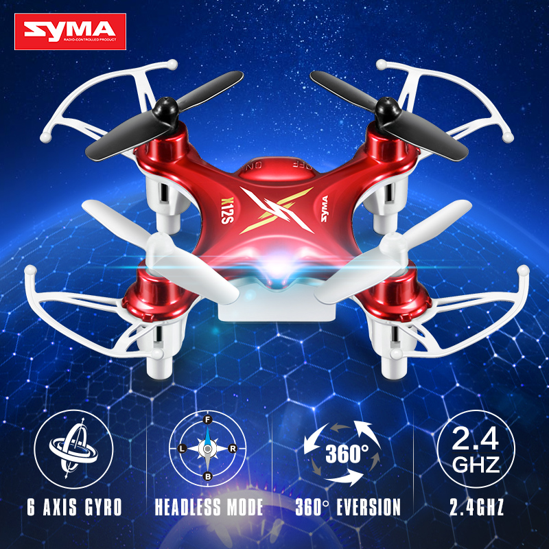 Syma X12S 4CH 6-Axis Gyro RC Helicopter Drones Quadcopter Mini Dron without Camera Indoor children Toy gift-Red