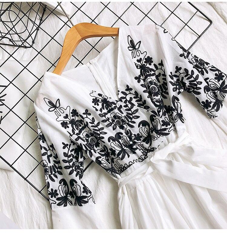 2019 Spring Summer V-neck Embroidery Dress Flare Sleeves Bohemian Dress Belted Ethnic Loose Vintage Dress 59