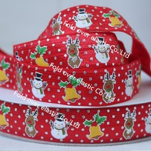 "7/8""size Christmas printed foe fold over elastic 100 yards per color per lot,OEM services, free shipping"