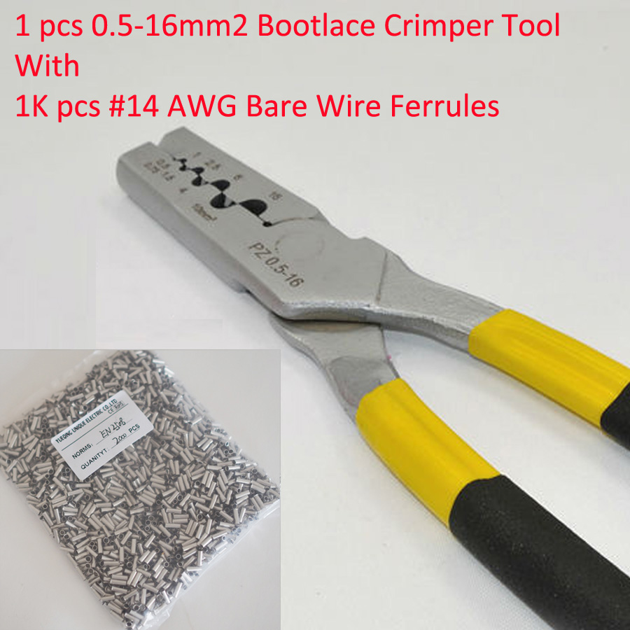 PZ0.5-16 0.5-16mm2 Crimping Tool Bootlace Ferrule Crimper and 1K #14 AWG EN2508 Bare Bootlace Wire Ferrules<br>