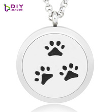 1pc! Hot! Cute Hollow Dog footprints aromatherapy necklace Fashion perfume diffuser pendant with free chain(China)