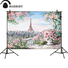 Allenjoy photography backdrop Spring colorful Paris Eiffel Tower pink Flower oil painting  photocall wedding background