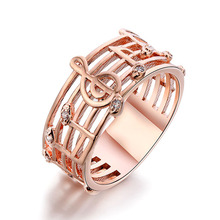 2016 Hollow Music design girls gold silver plated ring zircon crystal wedding rings musical Ring Fashion Women Brand Jewellery(China)