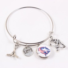 Love Columbus Blue Jackets Hockey Sport Team Bracelet Wire Adjustable Charm Bangles Jewelry 10pcs