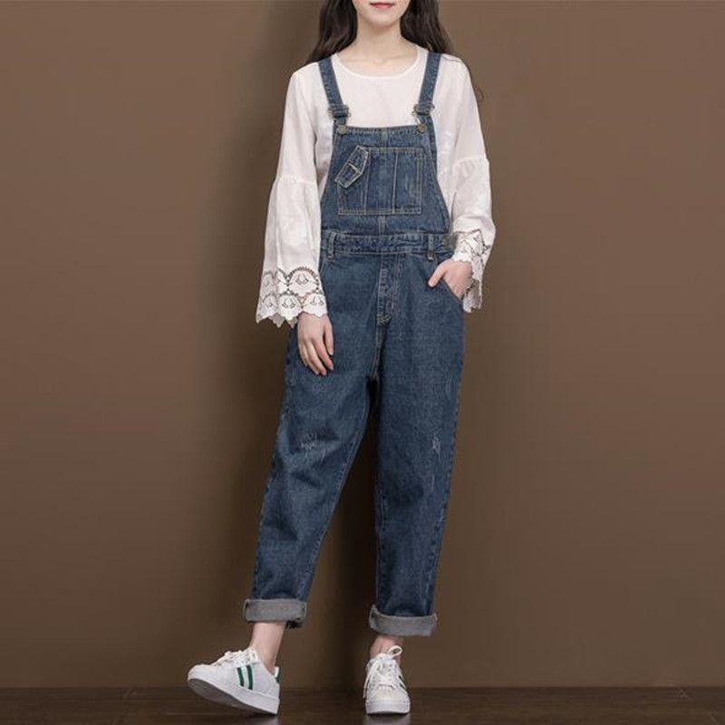 Loose Thick Jean Overalls Winter Plus Size Solid color suspenders Cowboy cargo pants Casual Straight Pocket Denim Jumpsuit 6720