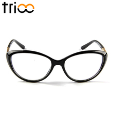 TRIOO Fashion Acetate Black Eyewear Frames Chic Cat Eye Optical Glasses Women High Quality Clear Spectacle Frame Eyeglasses(China)