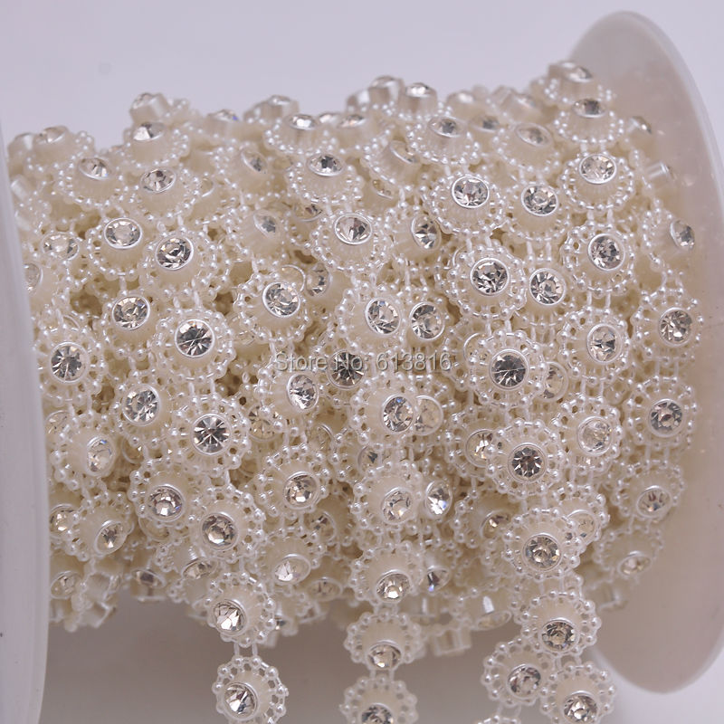 Rose Gold 14mm Acrylic Pearl Beaded Trim Cakes Wedding Crafts