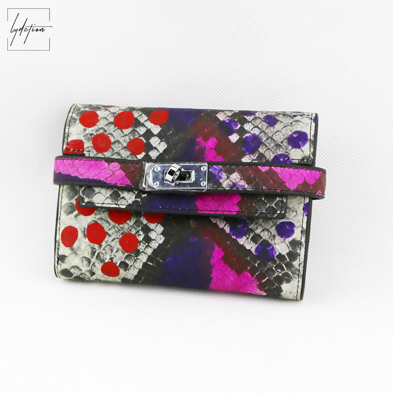 Lydztion Snake Print PU Wallets Lock Small Clutches 2018 Fashion Hand Holding Bags Thin Cross Lock  Buckle Purses Women Card Bag<br>