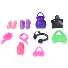 10PCS/Set Cute Headwear Shoes Necklace Blister Toy for Barbies Plastic Accessiries for Barbie Dolls Doll Bag