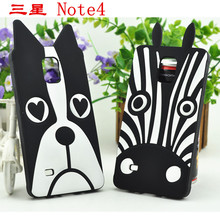 New Fashion 3D Cartoon Silicone Cover For Samsung Galaxy Note 4 Animal Zebra/ Dog Soft Gel Case For Samsung Note 4 N9100(China)