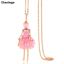 french doll necklace big choker tassel long chain pendant fashion jewelry for women 2017 newest style design accessories hot
