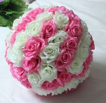 6.8inch(17cm) Wedding Flower Ball Centerpieces Silk Rose Kissing Balls Pomanders Decorative Hanging Flower Ball  Decoration