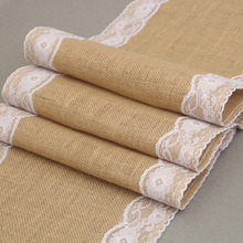 Jute Burlap Lace Hessian Table Runner Vintage Event Party Supplies Lace Table Runner for Wedding Home Decor(China)