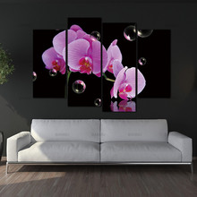 Canvas Painting Wall Art Pictures Photo home Decor Prints on 4 Panel Orchids And Bubbles Wall Decorations Newest Canvas no frame(China)