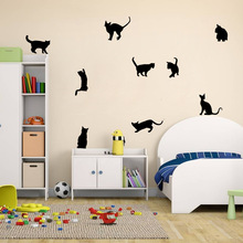 Cat wall stick a bedroom a sitting room background animal stickers(China)
