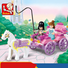 Girl Series Pink Dream Princess Royal Carriage Wagon Model Horse Vehicle Building Blocks Toys Sluban 0239 Compatible with Lego