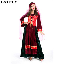 Traditional Folk Costume Muslim Bride Cosplay Green Red Velvet Gown Dobby Vest with Veil Womens Retro Clothing Fancy Party Dress