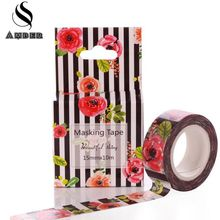 15mm*10m Kawai Red Roses flower DIY Washi Tapes Adhesive Tape Set Japanese Stationery Scrapbooking Adesiva Decorative M25