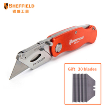 Sheffield Quick Change Folding Lock-Back Utility Knife Paper cutter tool Pocket Heavy Duty Knife gift 20 blades