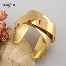 Danfosi Women Jewelry Warp Surface Metal Wide Opened Cuff Bangles Bracelets Gold Color & Silver Color Fashion Accessories BL113