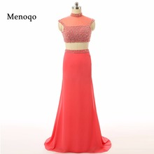 2017 Big Discount Mermaid High neck Cap sleeve Chiffon Beaded Women Special Occasion Real Photo Prom Dresses Elegant Party dress(China)