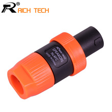 10pcs/lot RICH TECH Speakon 4Pin Plug Speaker Cable Connectors 4 Pole Powercon Plug Male Audio Connector orange(China)