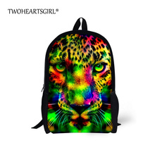 TWOHEARTSGIRL Cool Neon Animal Leopard Tiger Head Backpack for Teenager Boys Girls Unisex Children School Backpack Kids Bagpack