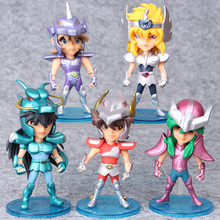 5pcs/set Figures Knights of the Zodiac children doll ornaments Automotive Decoration WJ02(China)