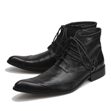 2018 New Autumn Winter Men 가죽 Boots Black 첨 발가락 Lace-업 Botas 보낸 험 브레와 Fashion Designer 스 Ankle Boots sapatos, EU38-46(China)