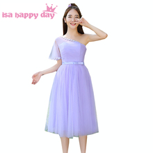 women ladies girls cheap short light purple dress party gowns prom tea length dresses semi formal new fashion 2017 H3811(China)