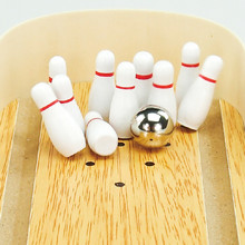 Cheap Wooden Mini Desktop Bowling Skittle Alley Office Games Fun Antistress Novelty Interesting Funny Gadgets Anti Stress Toys(China)