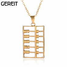 Greit New Exquisite Gold-color Abacus Pendant Necklace Great Cooper Jewelry Rolo Chain Collar Necklace Collier Femme JN16050