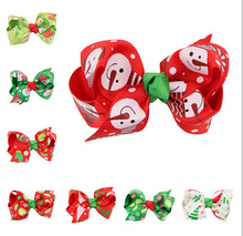 50pcs gril hair ties Christmas Ribbon Hair Bows WITH CLIP Xmas Party Decoration 3 inch Boutique Hair Bows Kids Gift HD3292
