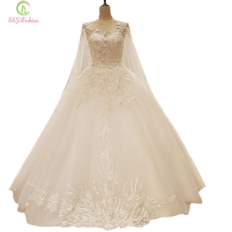 SSYFashion New Luxury Wedding Dress High-grade The Bride Princess White Lace Flower  with Long Trailing Veil Long Wedding Gown