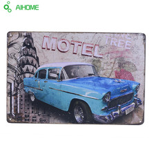 Iron Plate Painting Motel Bus Vintage tin signs retro metal sign decor for bar cafe pub restaurant Metal Wall Sticker