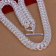 N139 925  sterling silver necklace wide thick mesh chains Full circle TO the necklace Chains for women men's fashion jewelry