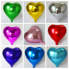 10pcs/lot 18inch Solid Gold Silver Blue Purple Balloons helium foil wedding balloon Party Decoration heart shaped love globos
