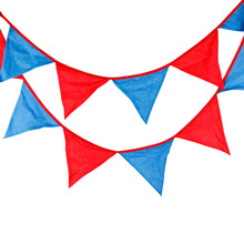 1pcs 3.3M 12Flags Red Blue Home Fabric Cloth Decoration Flag Super Photo Shooting Banner Outdoor Birthday Party Deco Pennant