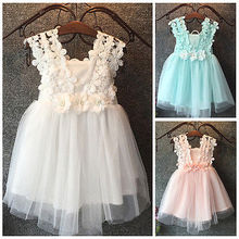 New XMAS Baby Girls Party Lace Tulle Flower Gown Fancy Dridesmaid Dress Sundress
